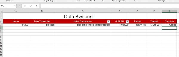 Isi Data Kwitansi