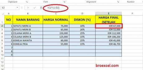 Rumus Diskon dengan Excel