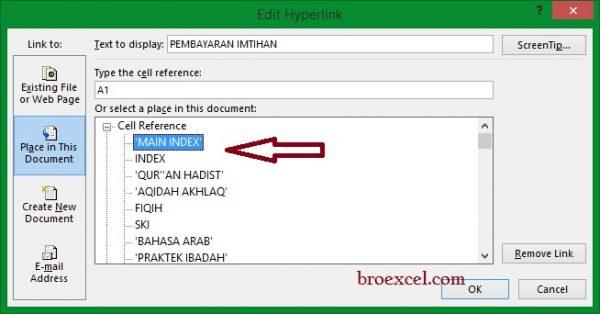 Membuat Hyperlink di Excel