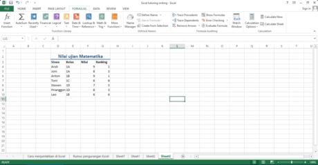 Figure 3 Hasil rumus Excel RANK yang kita masukkan di gambar sebelumnya