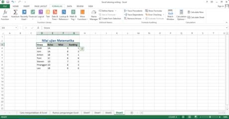 Figure 4 Pilih cell mulai dari Siswa sampai dengan Ranking
