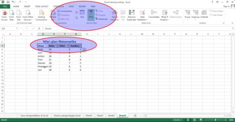 Figure 5 Pilih Data - Filter untuk menampilan tanda panah dari Siswa sampai dengan Ranking